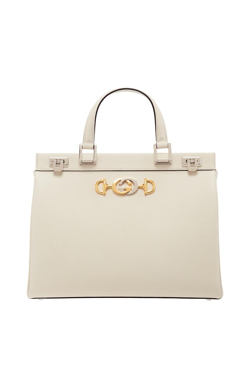 Купить Белая кожаная сумка Zumi от Gucci белого цвета