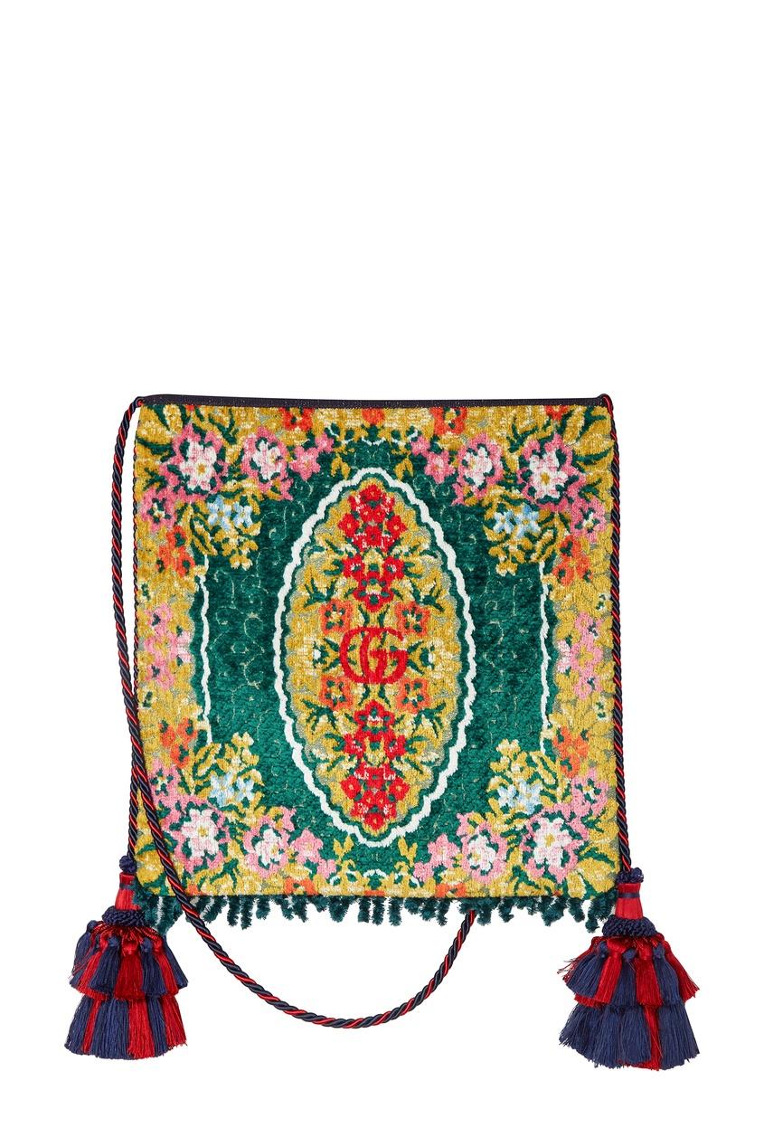Купить Жаккардовая сумка с цветочным узором от Gucci зеленого цвета