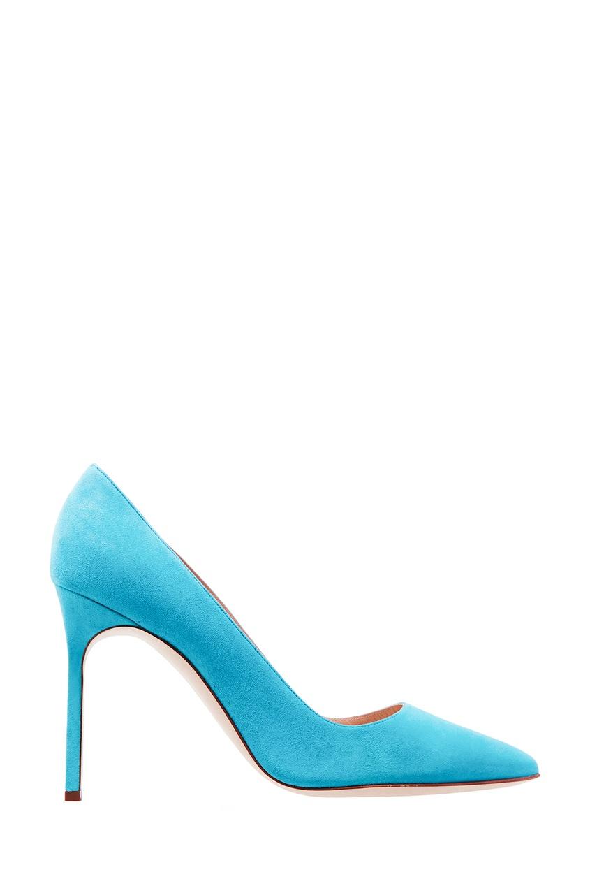 Купить Голубые замшевые туфли BB от Manolo Blahnik голубого цвета