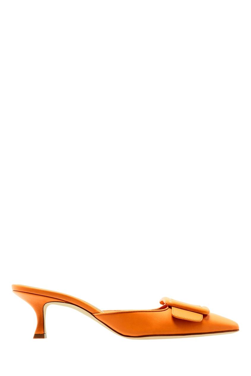 Купить Оранжевые кожаные мюли Maysale от Manolo Blahnik оранжевого цвета