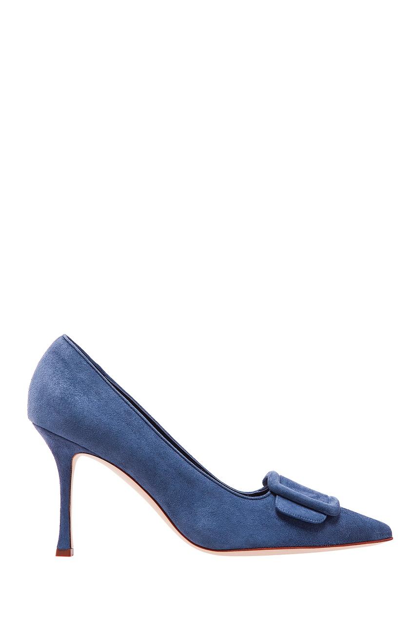Купить Темно-синие замшевые туфли Maysale от Manolo Blahnik синего цвета