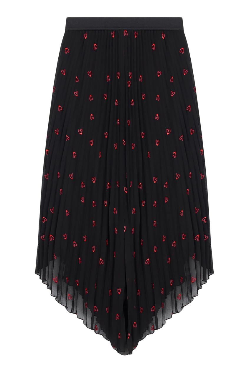 Купить Плиссированная юбка с принтом от Maje черного цвета