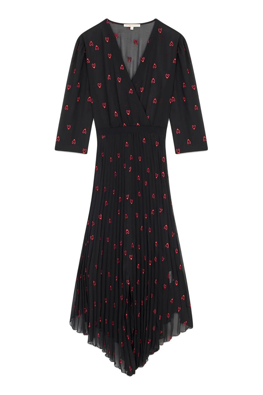Купить Черное платье-миди с принтом от Maje черного цвета
