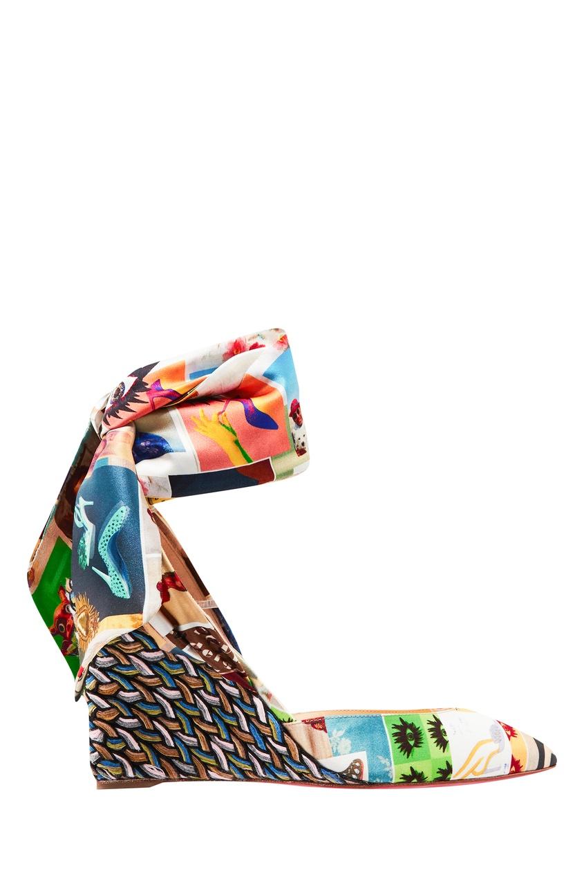 Купить Атласные босоножки Jacobella 85 от Christian Louboutin цвет multicolor