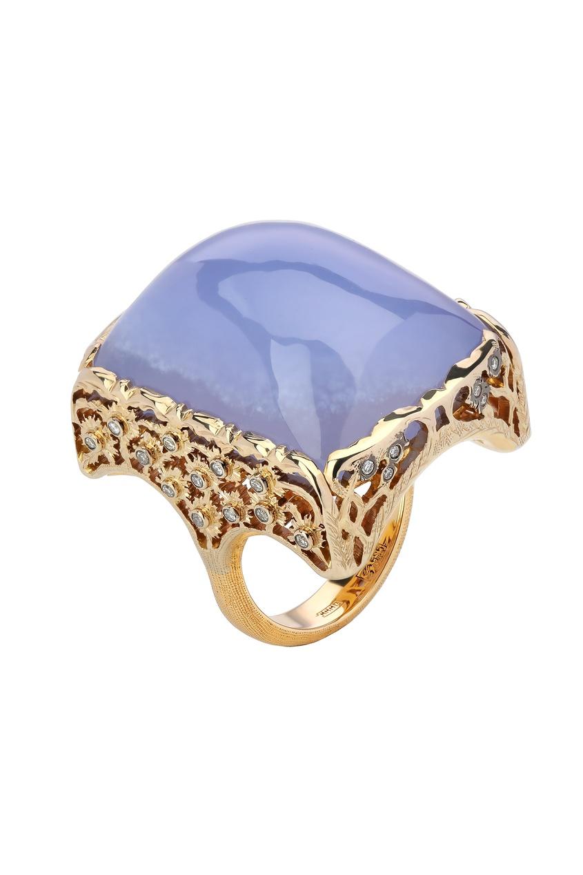 Купить Золотой перстень с бриллиантами и сапфирином от Кремлевские Мастера цвет multicolor