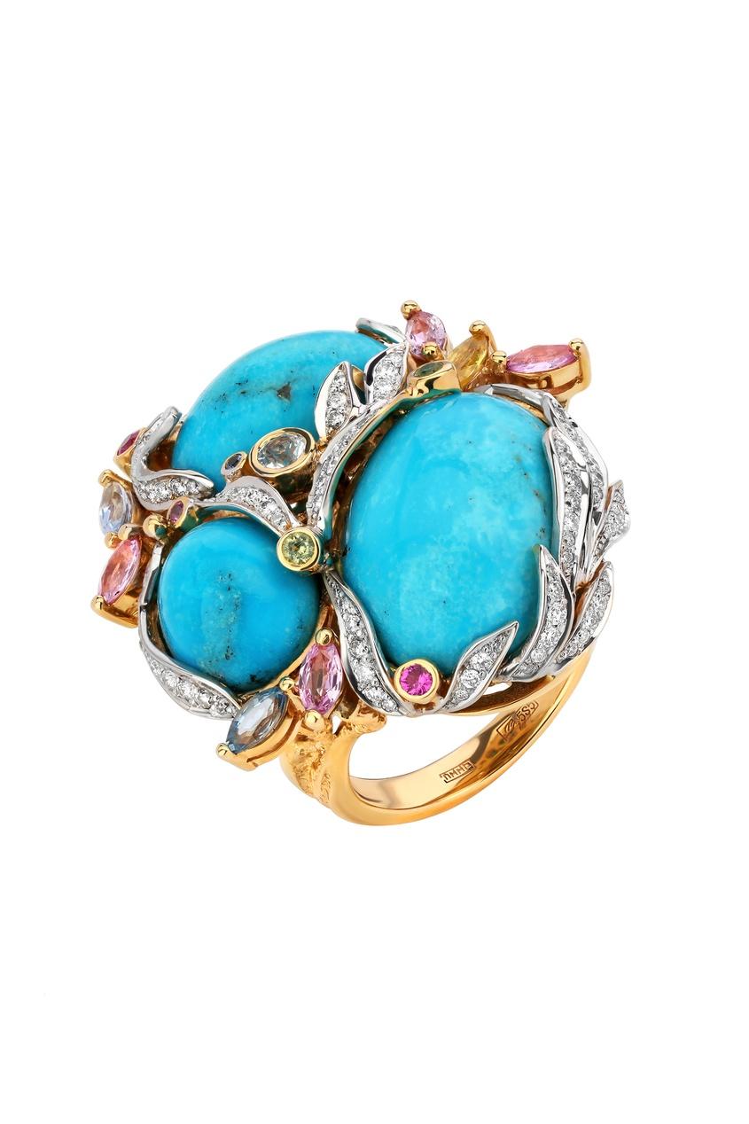 Купить Золотое кольцо с бирюзой от Кремлевские Мастера цвет miltocolor