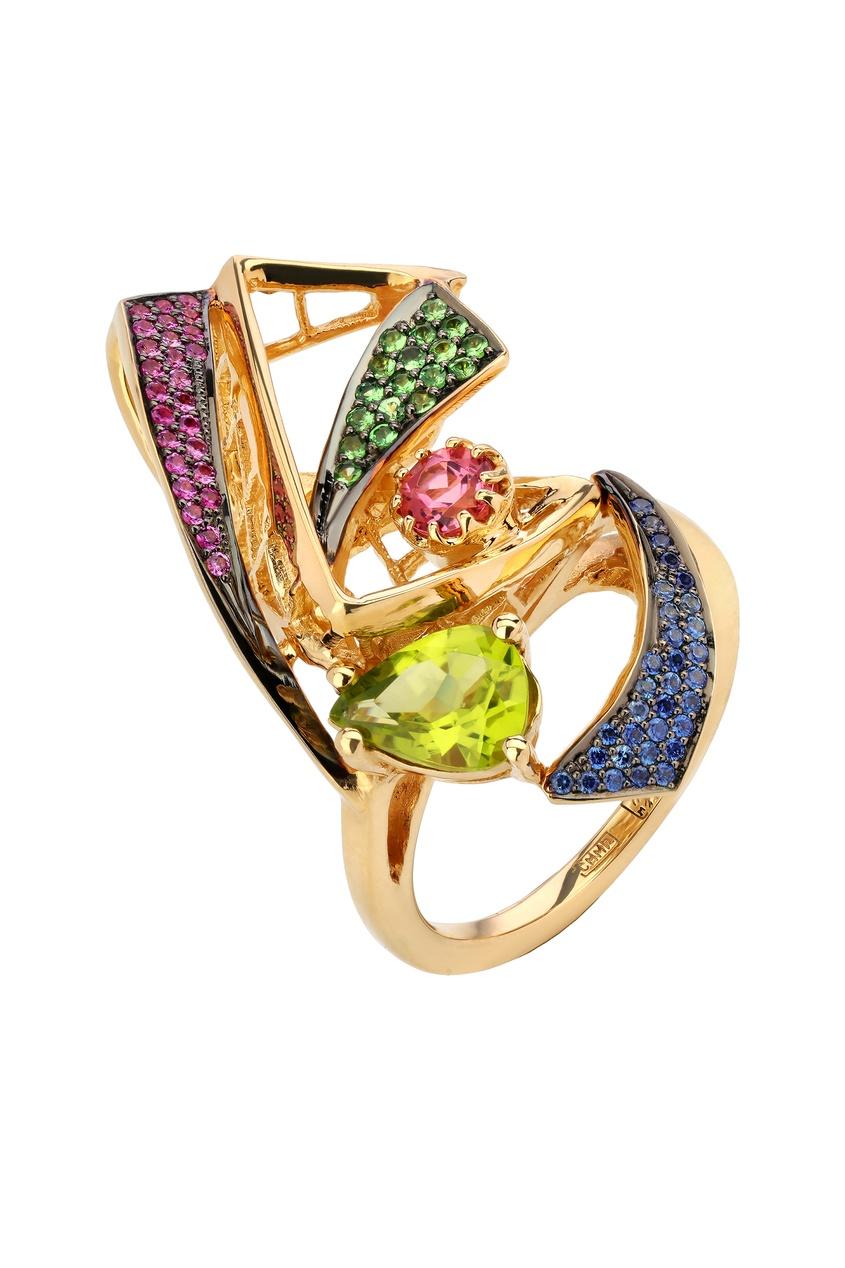 Купить Золотое кольцо с сапфирами, цаворитами, турмалином и хризолитом от Кремлевские Мастера цвет multicolor