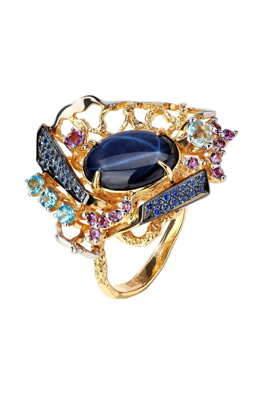 Купить Золотое кольцо с сапфирами, топазами, аметистами и звездчатым сапфиром от Кремлевские Мастера цвет multicolor
