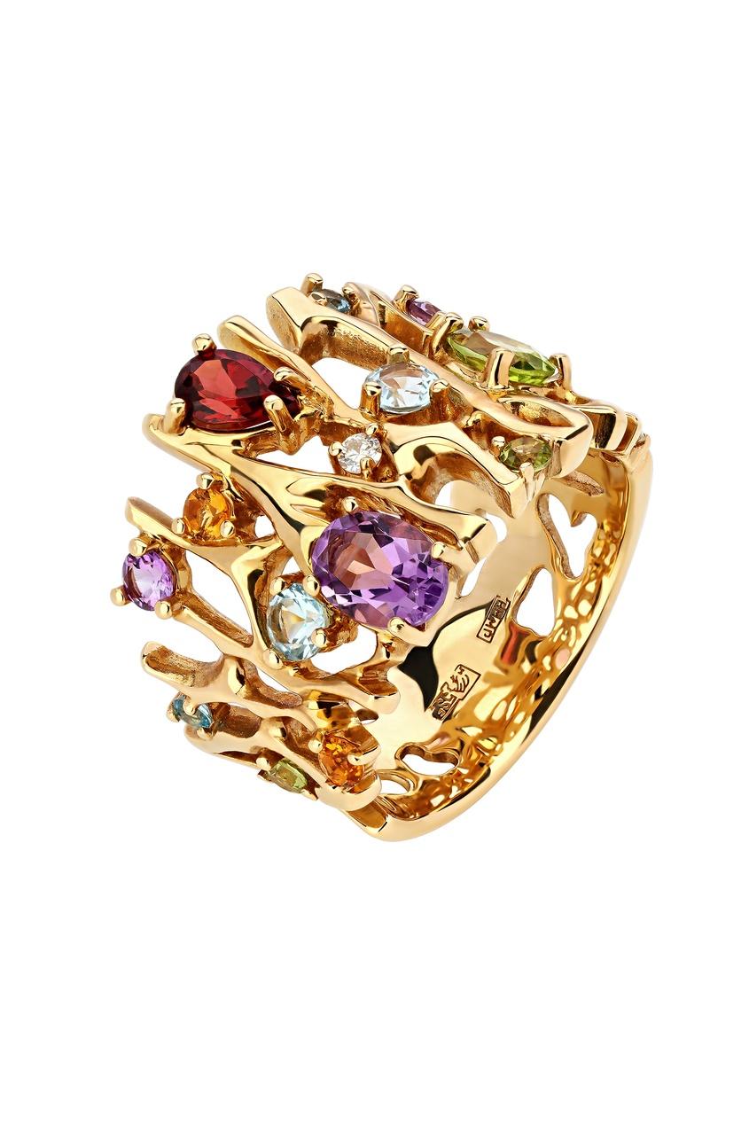 Купить Золотое кольцо с различными вставками от Кремлевские Мастера цвет multicolor