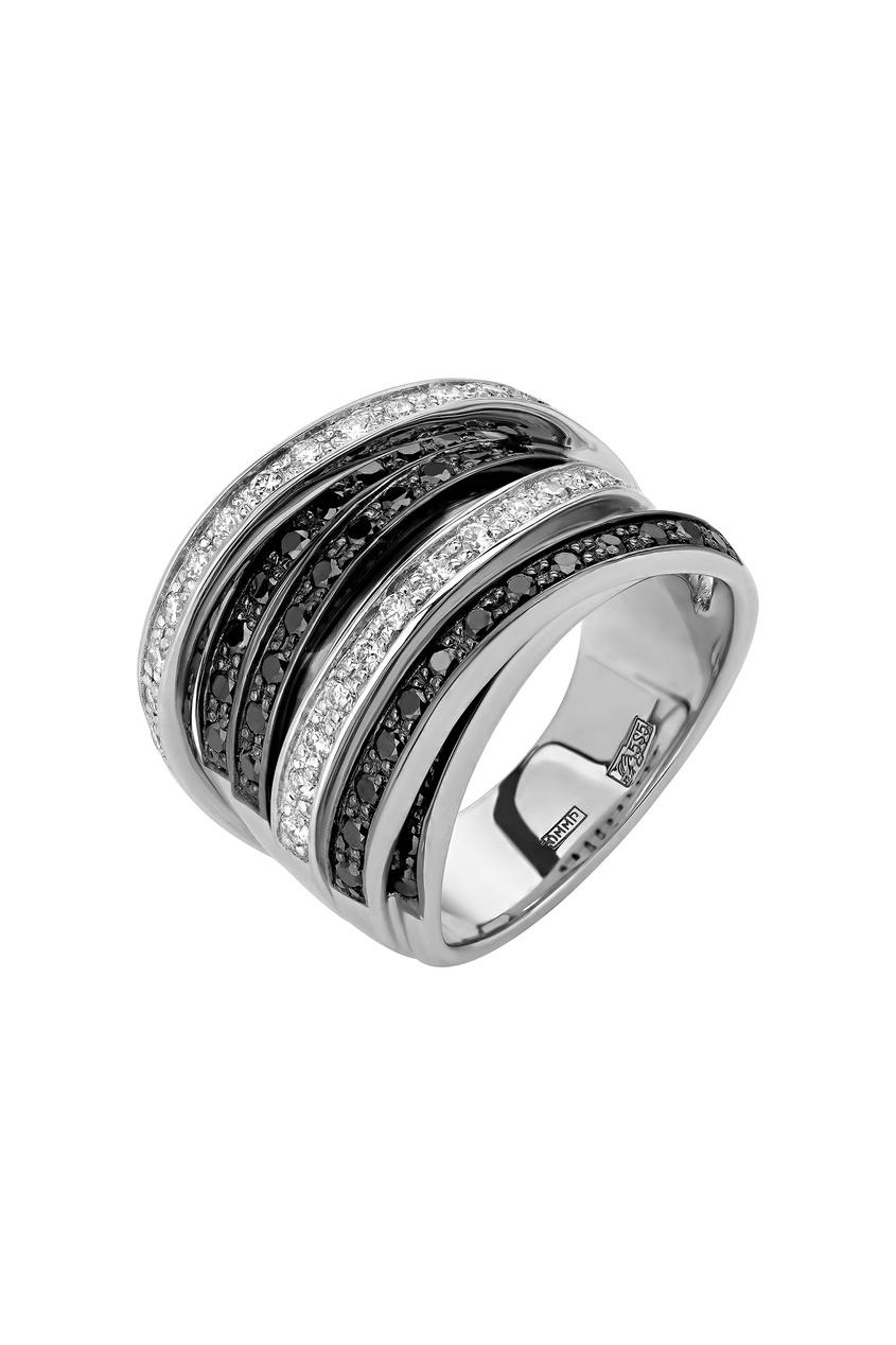 Купить Широкое кольцо с черными и белыми бриллиантами от Кремлевские Мастера белого цвета