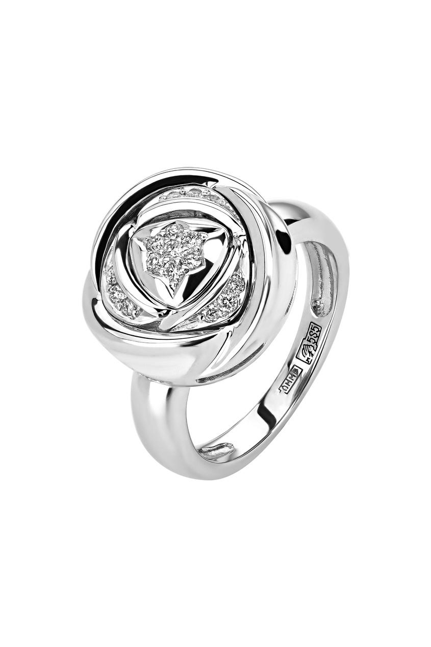 Купить Кольцо в форме розы с бриллиантами от Кремлевские Мастера белого цвета
