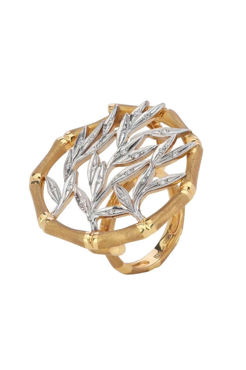 Купить Кольцо из желтого и белого золота с бриллиантами от Кремлевские Мастера золотого цвета