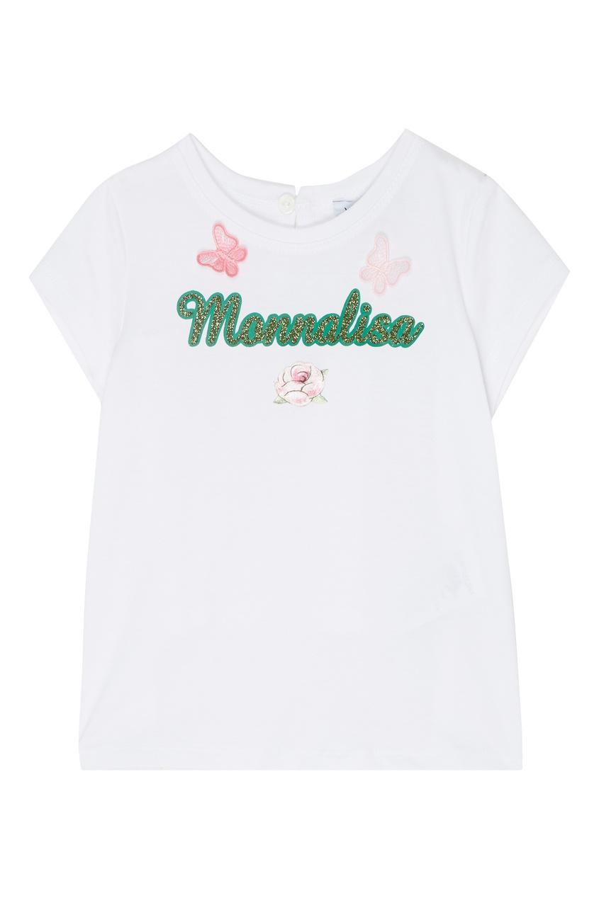 Купить Белая футболка с принтом и аппликацией от Monnalisa белого цвета