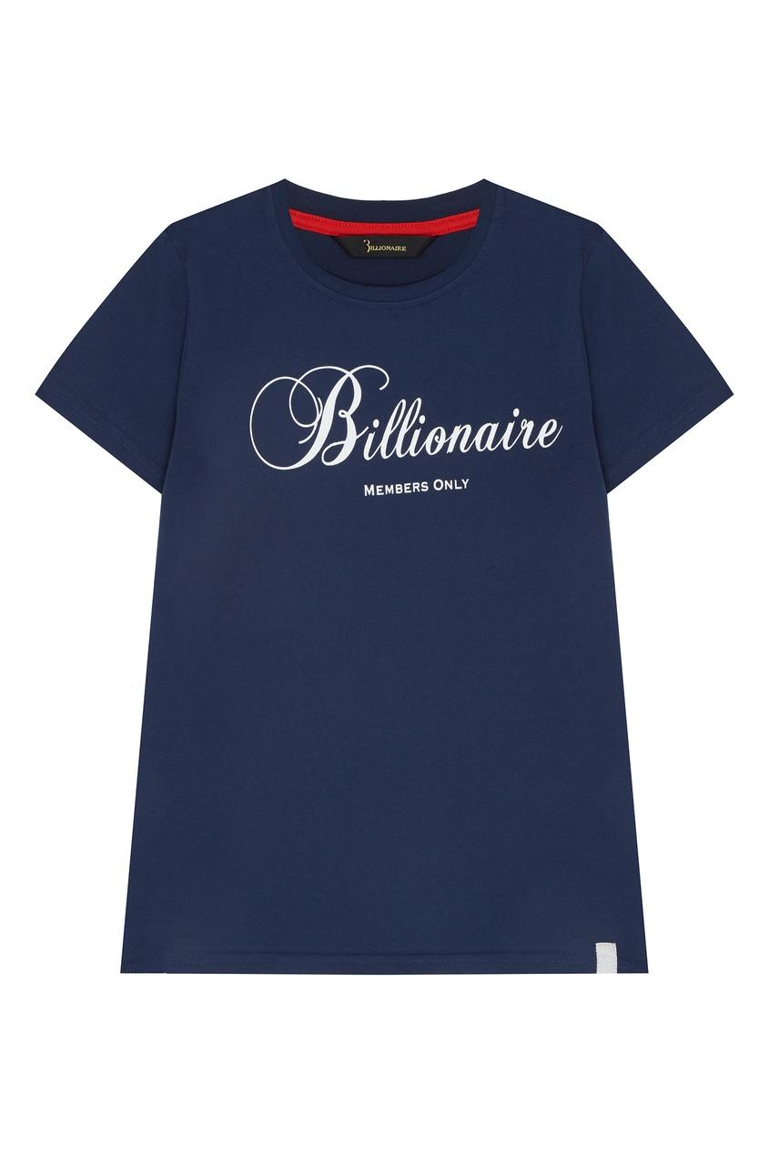 Купить Синяя футболка с принтом и стразами синего цвета
