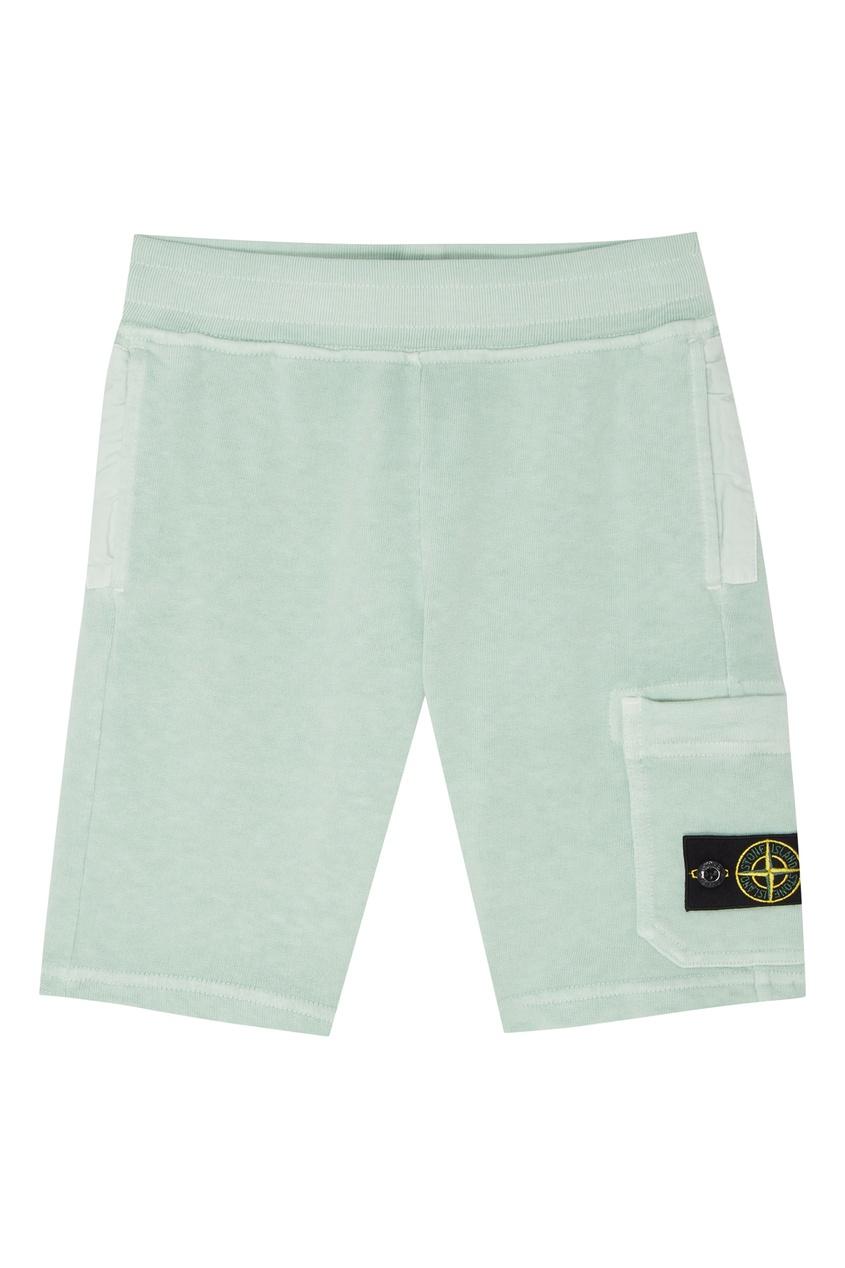 Купить Зеленые хлопковые шорты от Stone Island Kids зеленого цвета