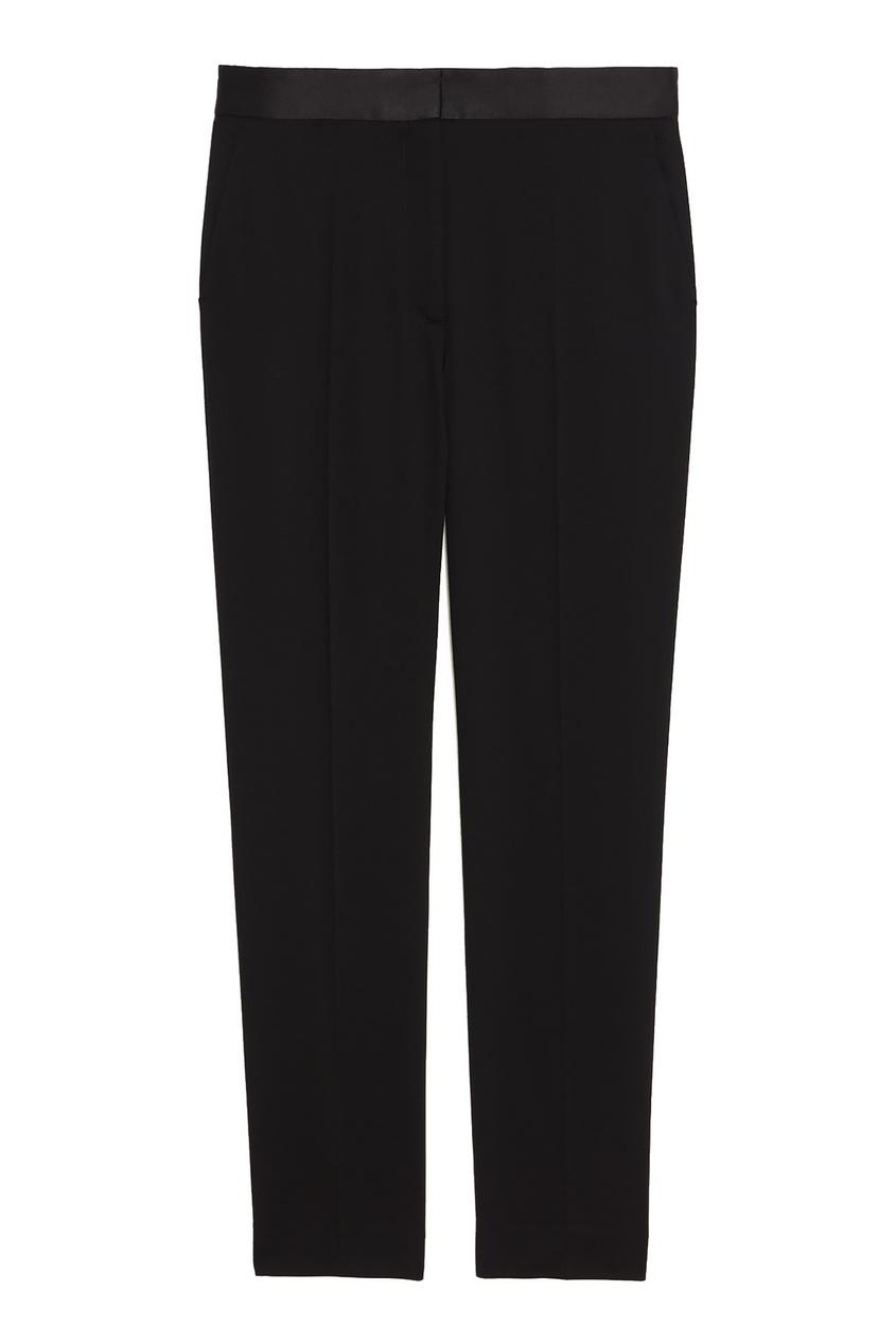 Купить Черные брюки с атласным поясом от Sandro черного цвета
