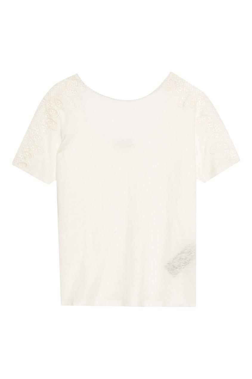 Купить Льняная футболка с кружевом от Sandro белого цвета