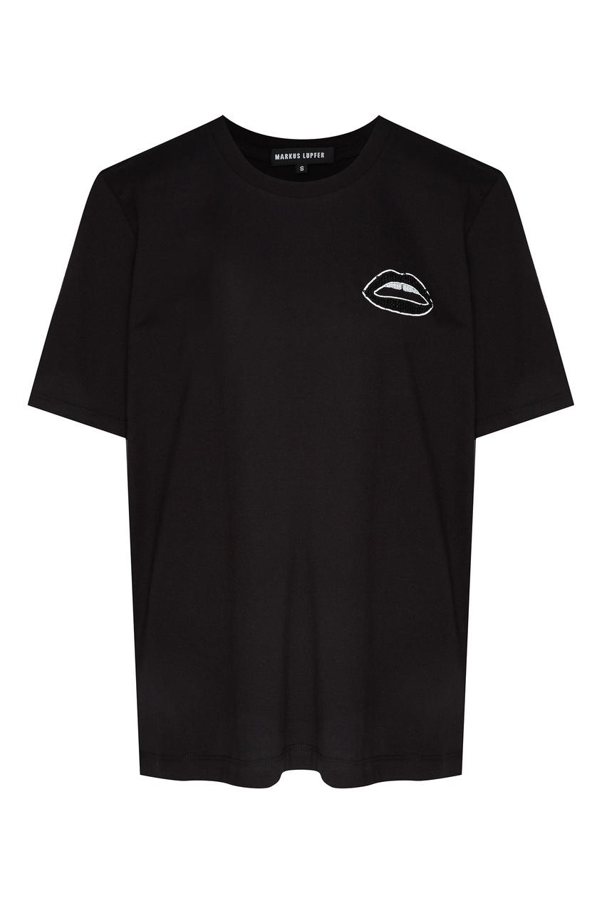 Купить Черная футболка с пайетками Alex от Markus Lupfer черного цвета