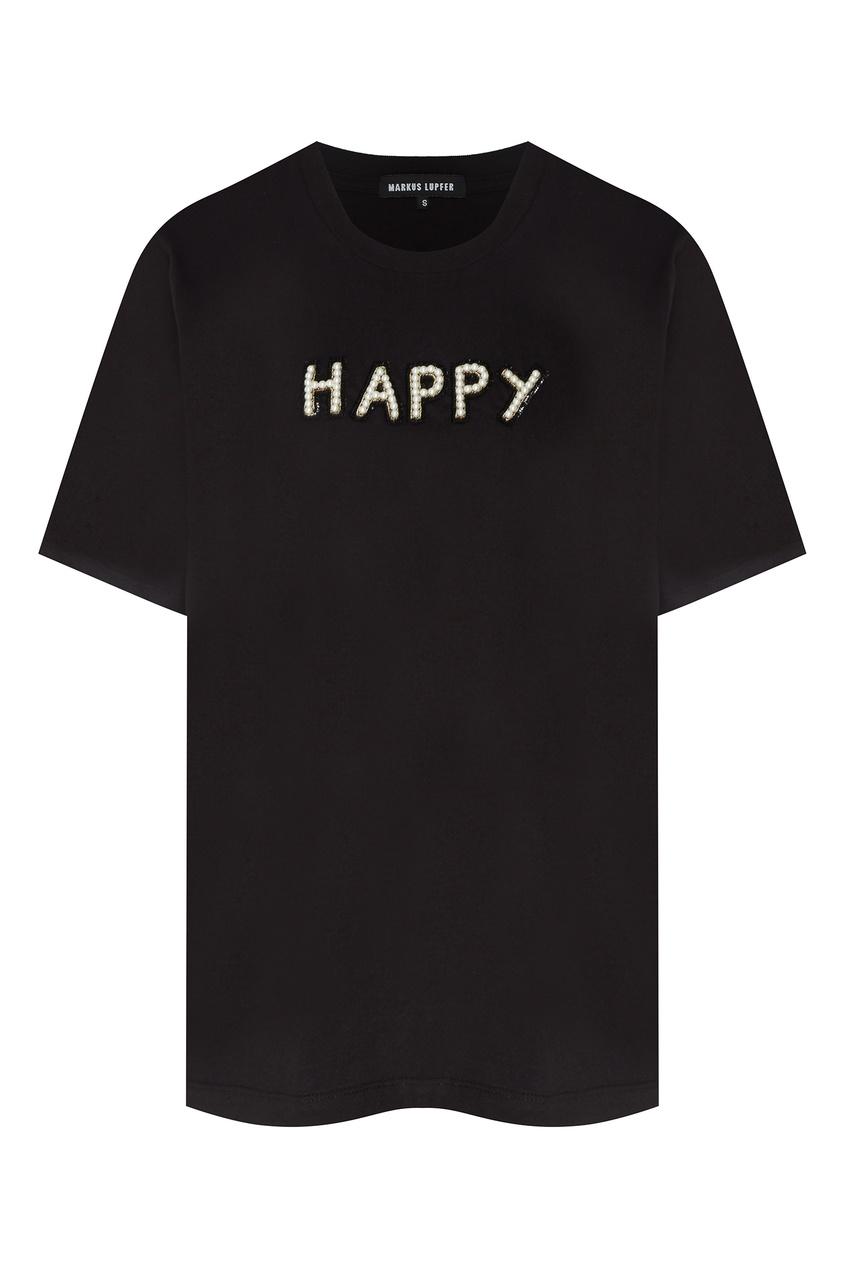 Купить Черная футболка Alex с декором от Markus Lupfer черного цвета