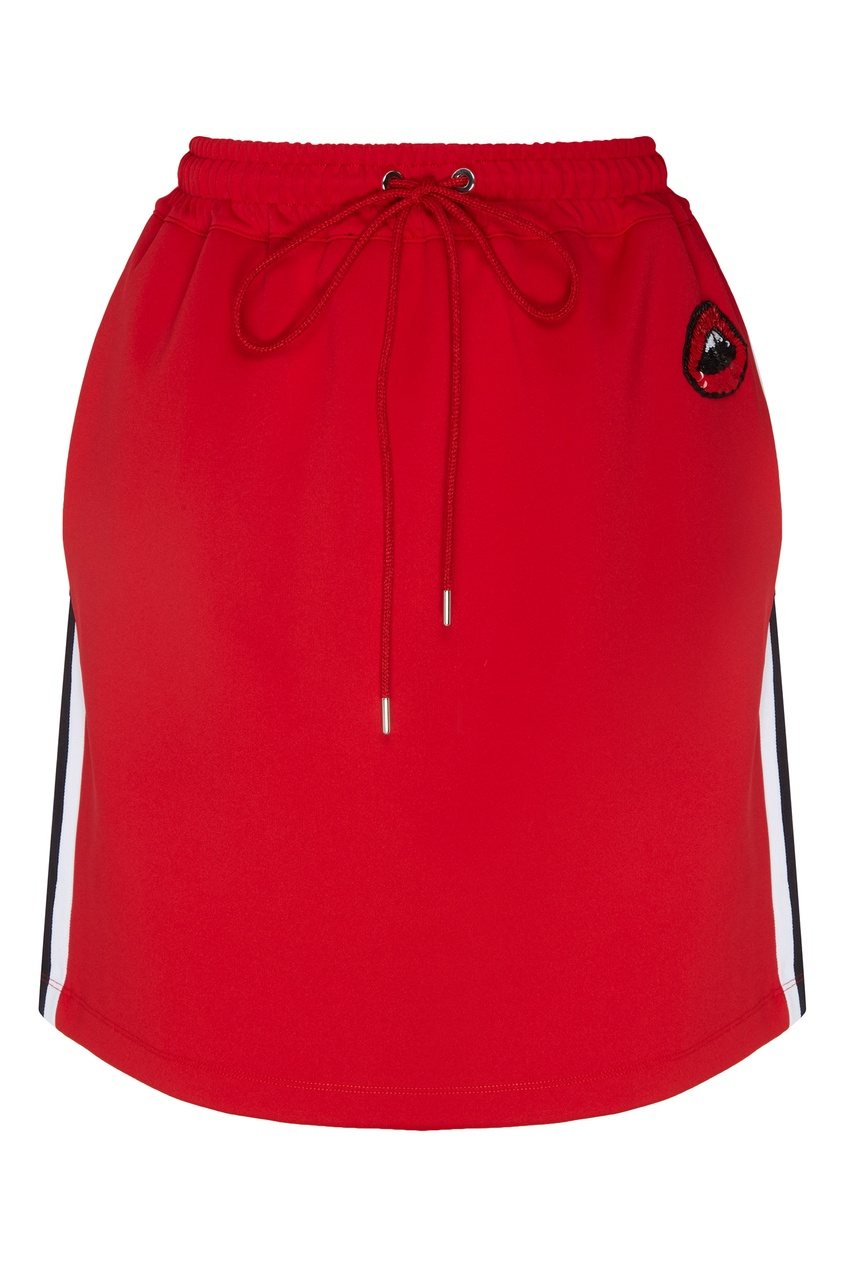 Купить Мини-юбка с лампасами и пайетками от Markus Lupfer красного цвета