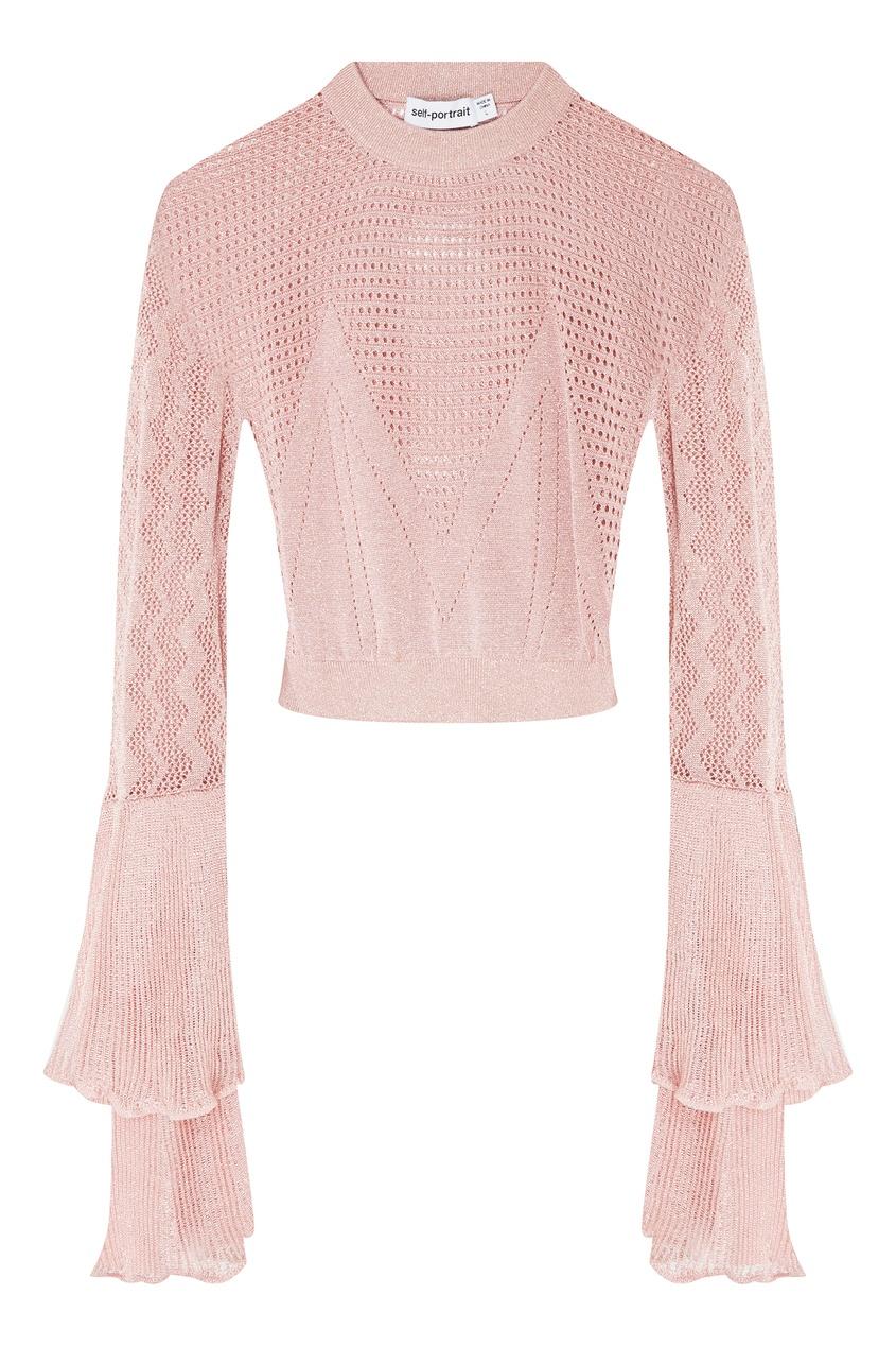 Купить Пудровый джемпер с люрексом от Self-Portrait розового цвета