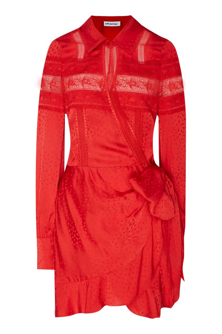 Купить Красное платье мини с кружевной тесьмой от Self-Portrait красного цвета