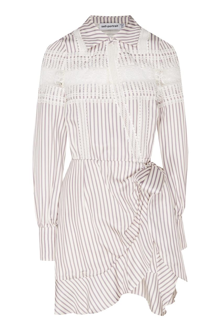Купить Полосатое платье мини с кружевной тесьмой от Self-Portrait белого цвета