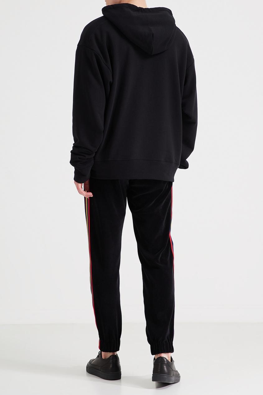 Фото 3 - Черные брюки с трехцветными лампасами от Gucci Man черного цвета