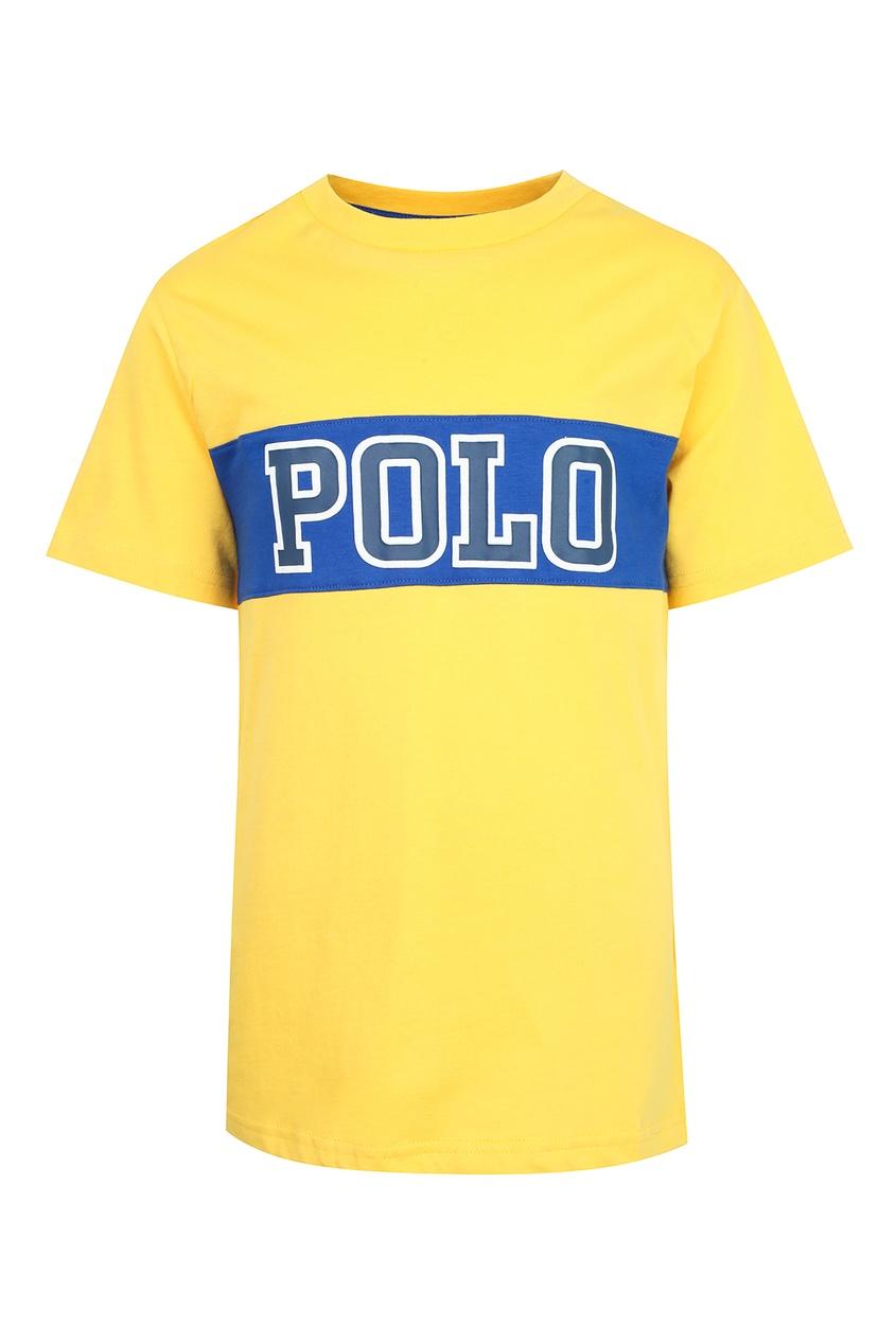 Купить Желтая футболка с надписью от Polo Ralph Lauren Kids желтого цвета