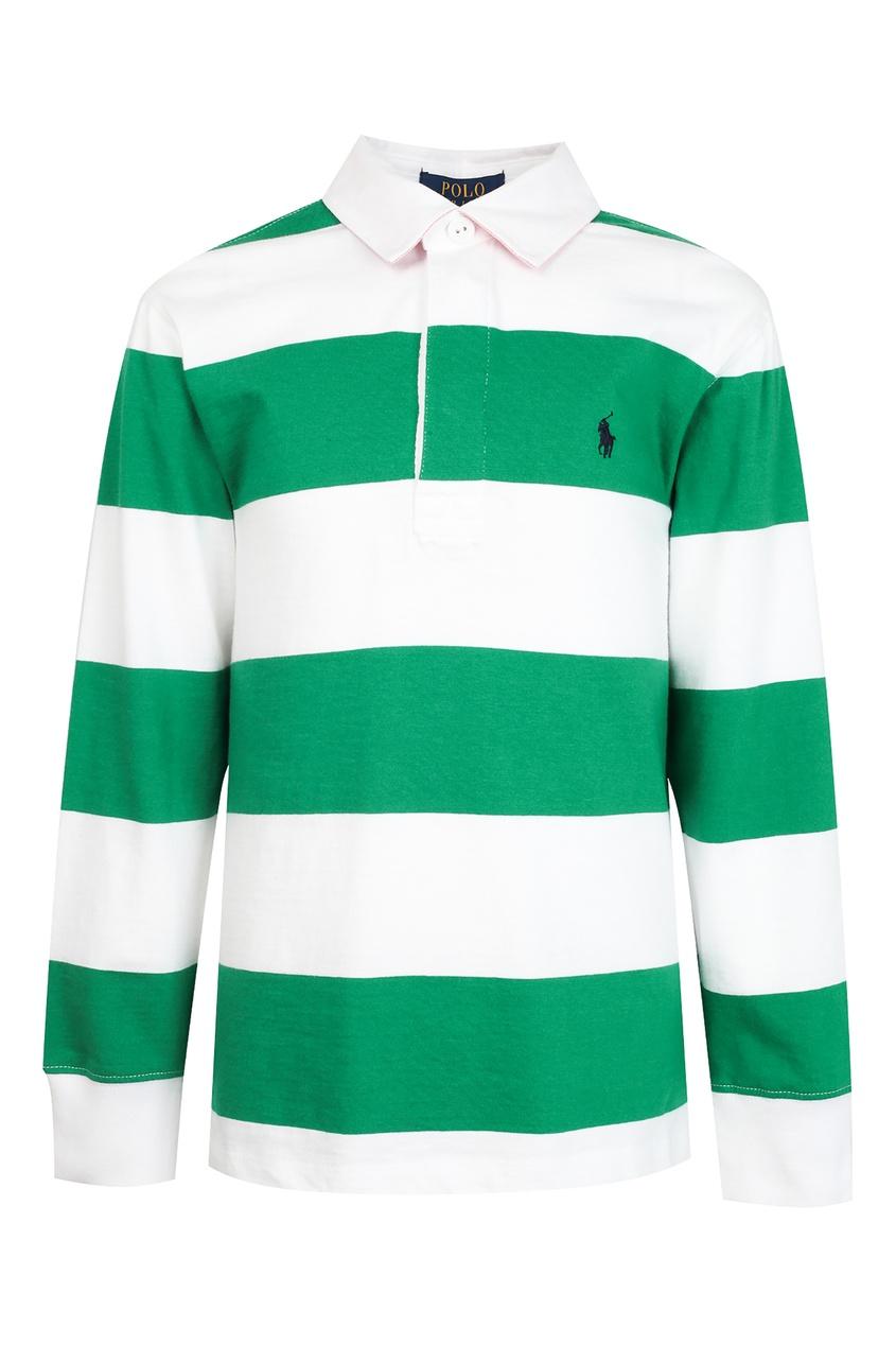 Поло в бело-зеленую полоску от Polo Ralph Lauren Kids