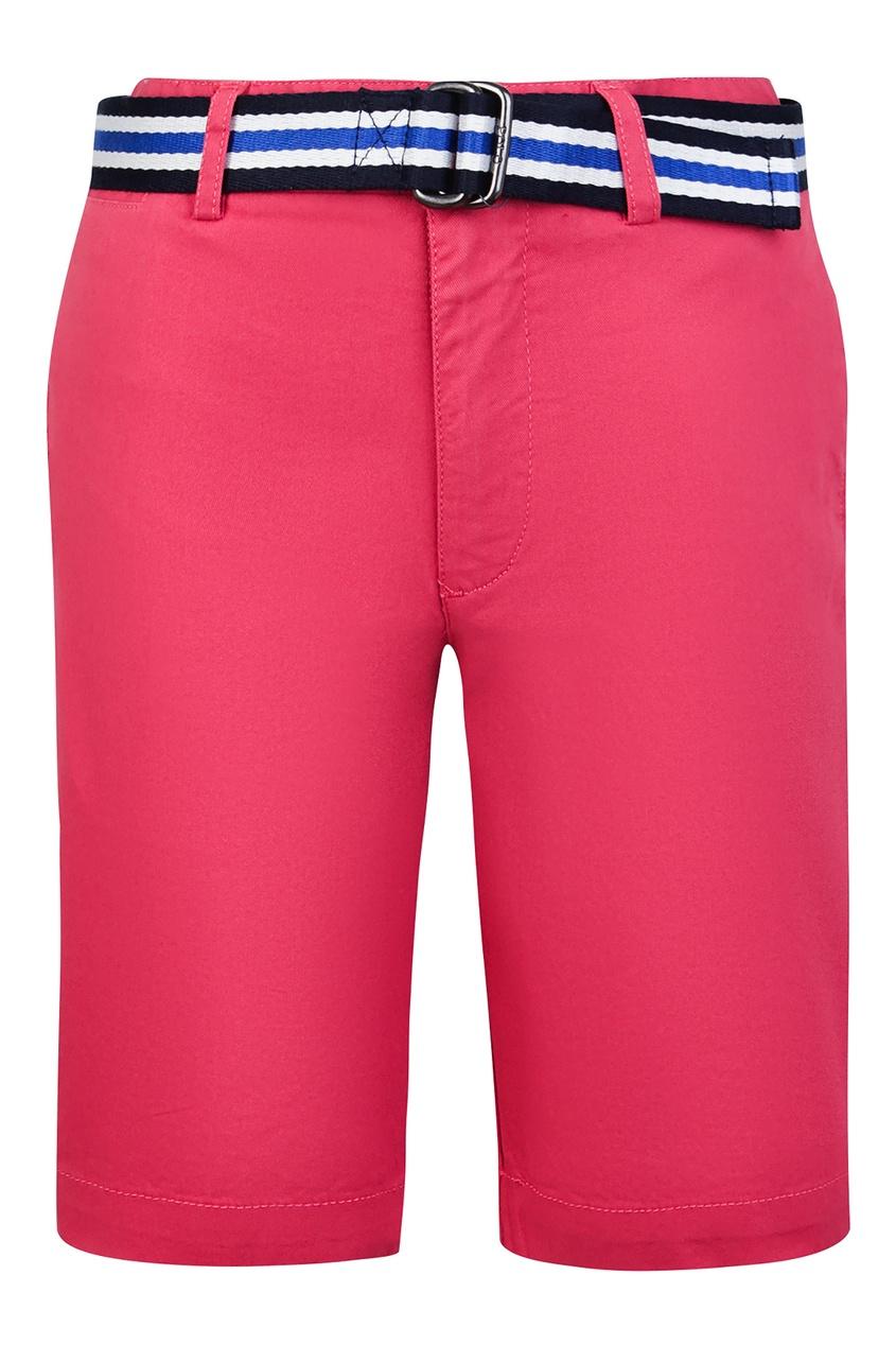 Купить Розовые шорты с контрастным ремнем от Polo Ralph Lauren Kids бордового цвета