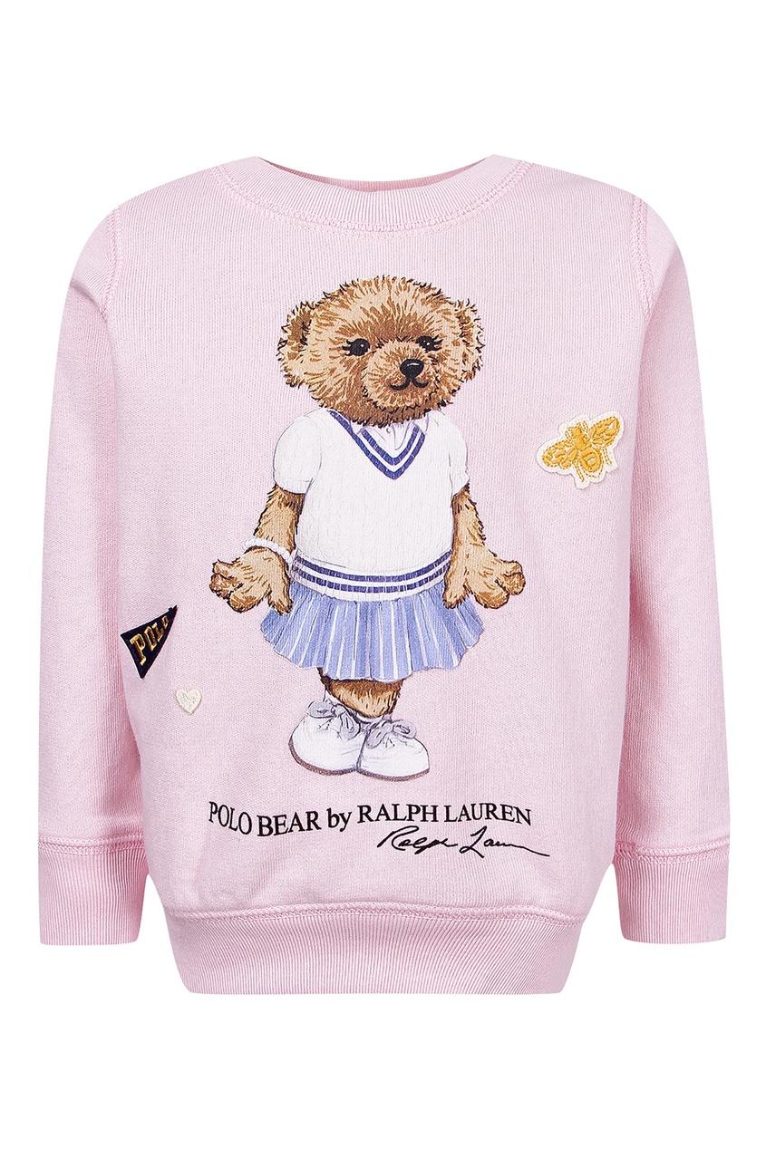 Купить Розовый джемпер с медведем от Ralph Lauren Kids розового цвета