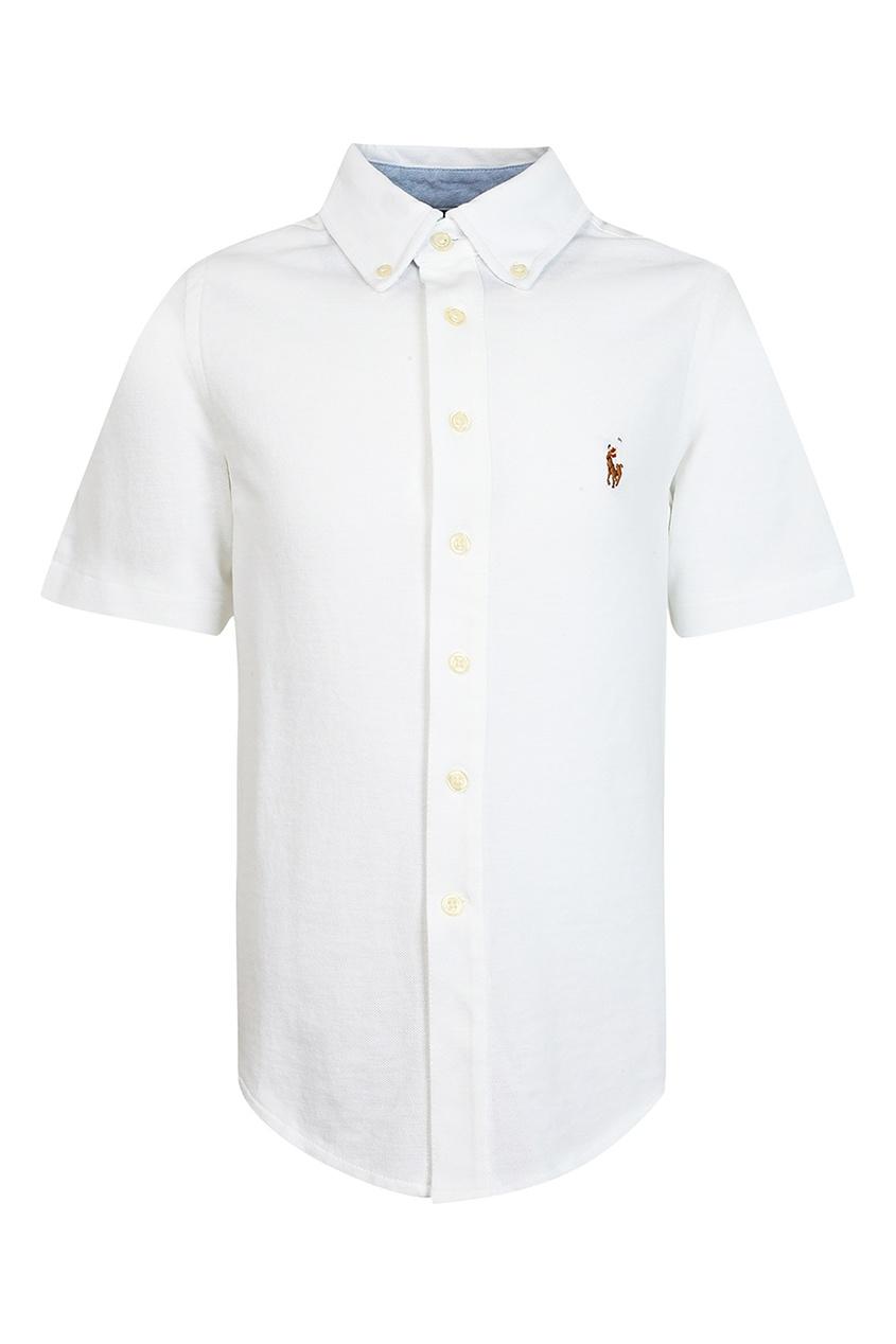 Купить Белая рубашка с короткими рукавами от Ralph Lauren Kids белого цвета