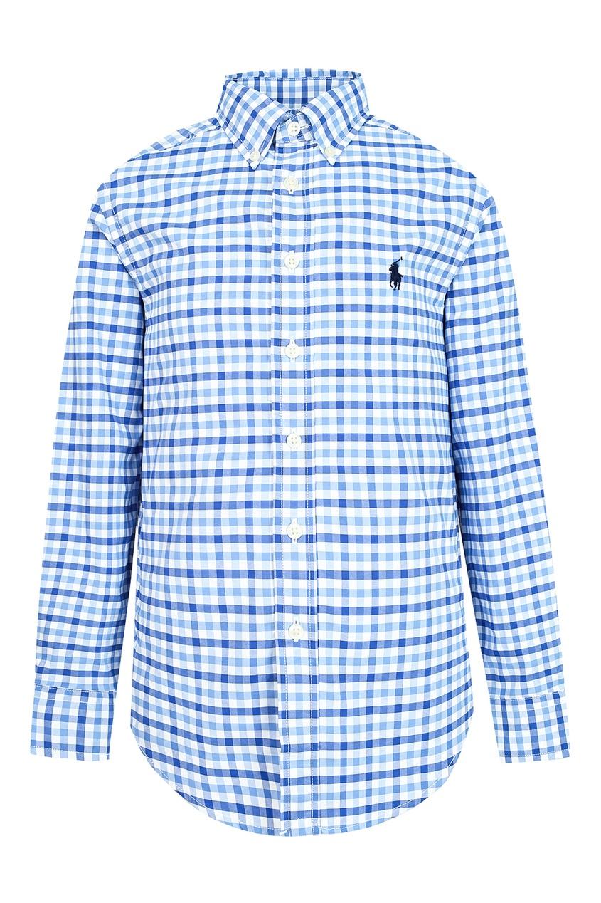 Купить Рубашку в сине-белую клетку от Ralph Lauren Kids голубого цвета