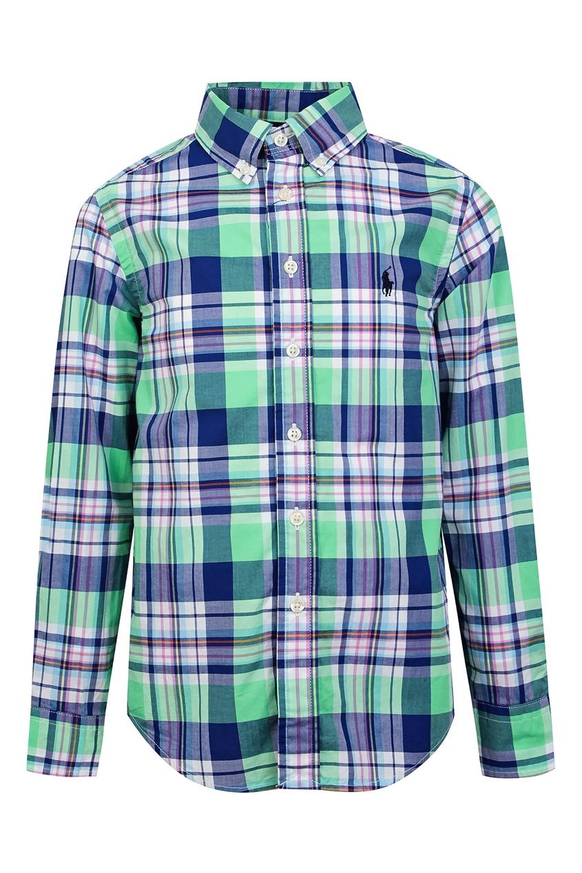 Купить Рубашку в сине-зеленую клетку от Ralph Lauren Kids цвет multicolor