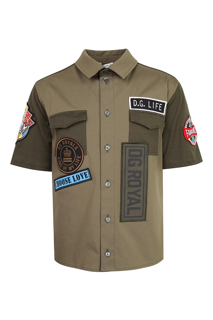 Купить Коричневая рубашка с карманами цвета хаки