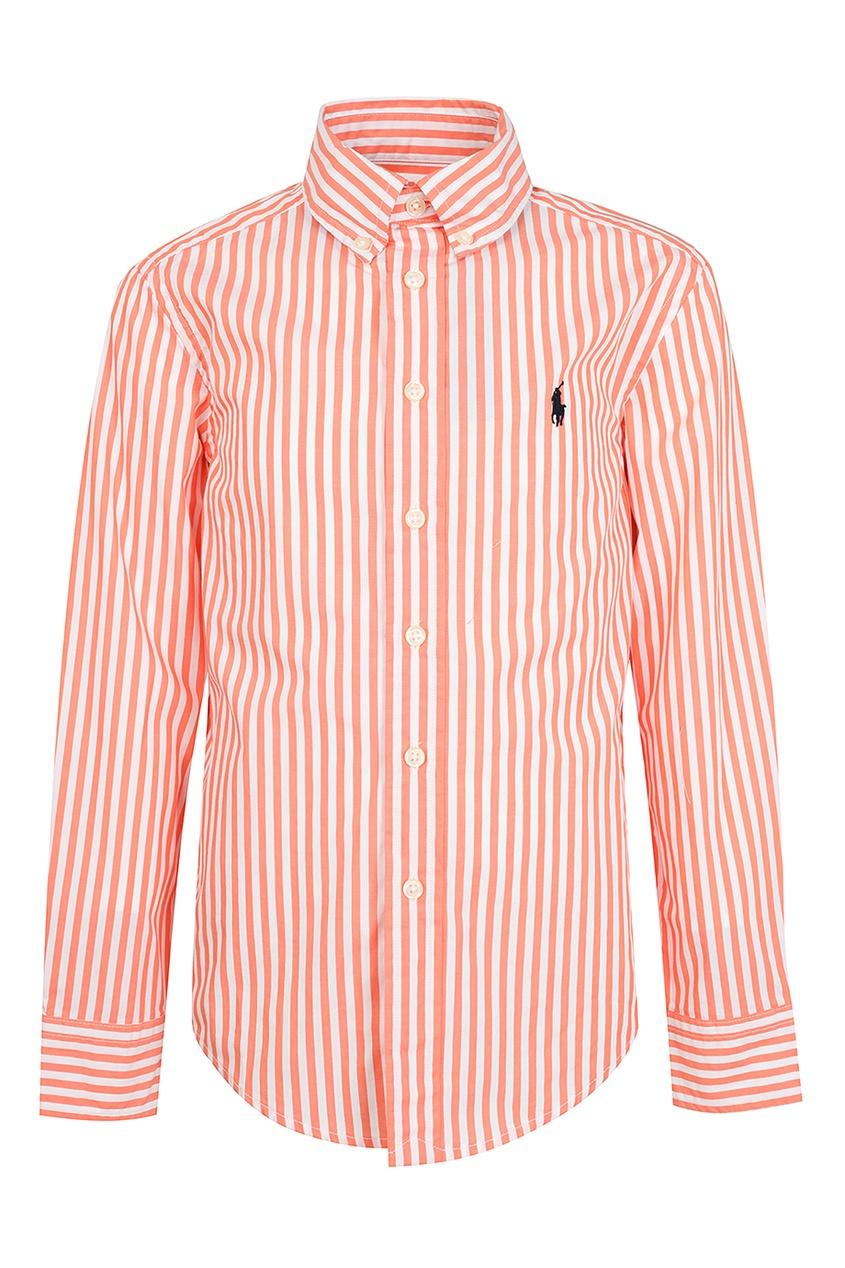 Купить Рубашку в оранжево-белую полоску от Ralph Lauren Kids цвет multicolor