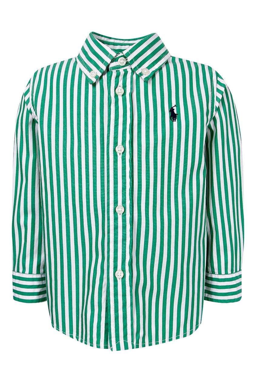 Купить Рубашку в бело-зеленую полоску от Ralph Lauren Kids цвет multicolor