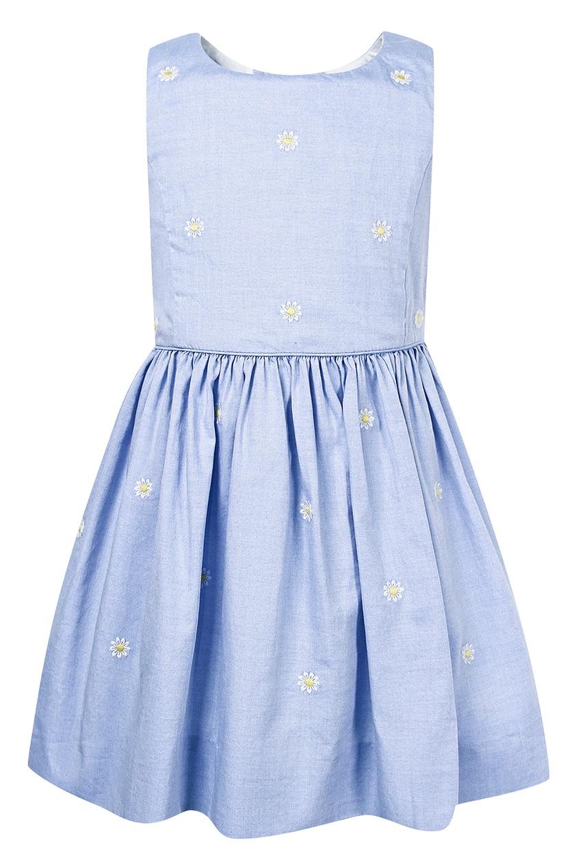 Купить Голубое платье с вышивкой от Polo Ralph Lauren Kids голубого цвета