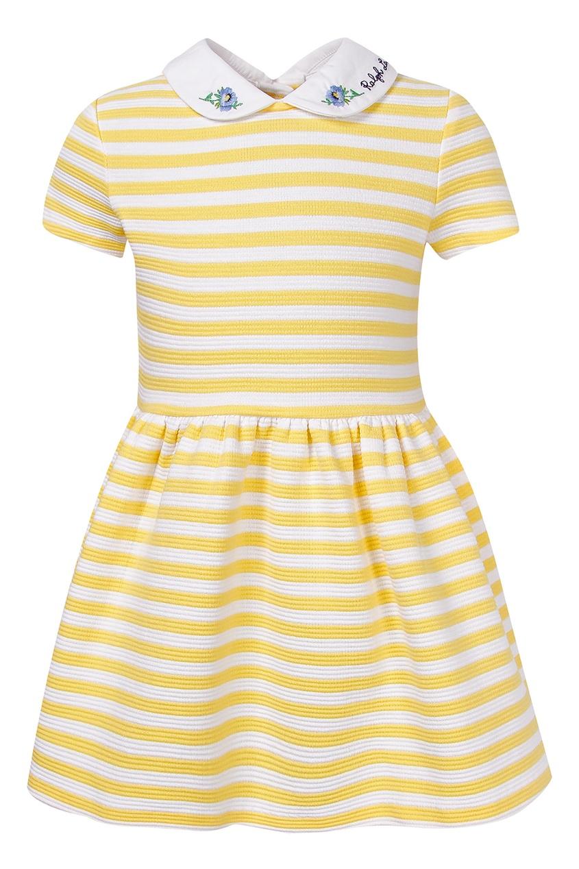 Купить Платье в желто-белую полоску от Polo Ralph Lauren Kids желтого цвета