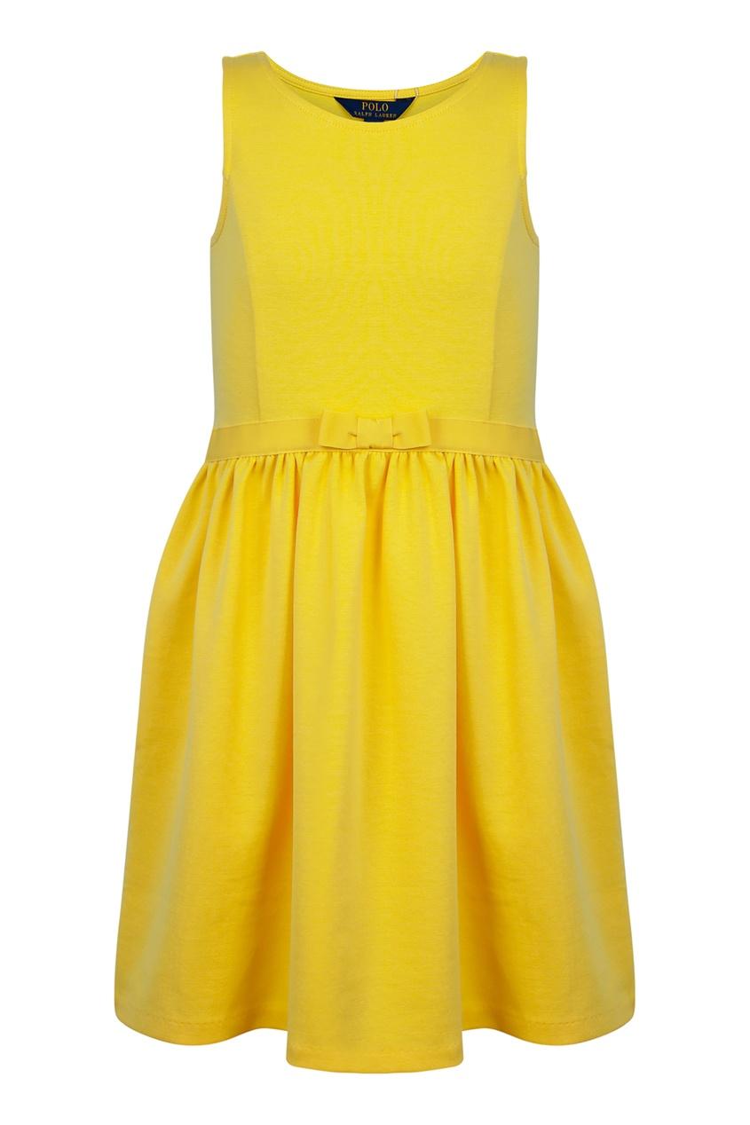 Фото - Желтое платье с бантом от Polo Ralph Lauren Kids желтого цвета