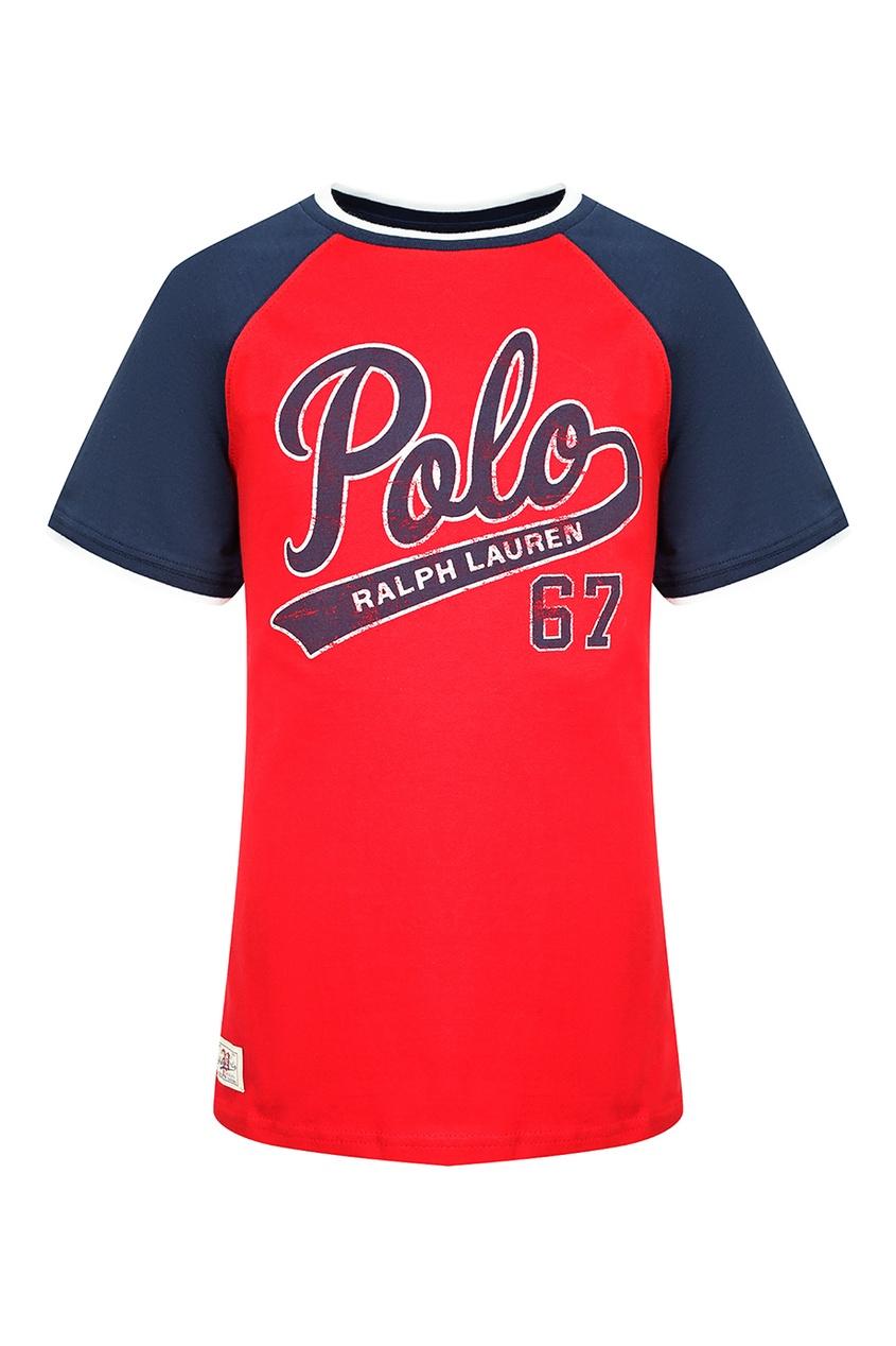 Купить Красная футболка с синими рукавами от Polo Ralph Lauren Kids красного цвета