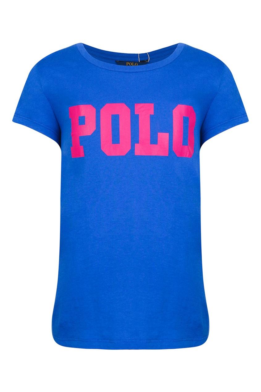 Синяя футболка с надписью от Polo Ralph Lauren Kids