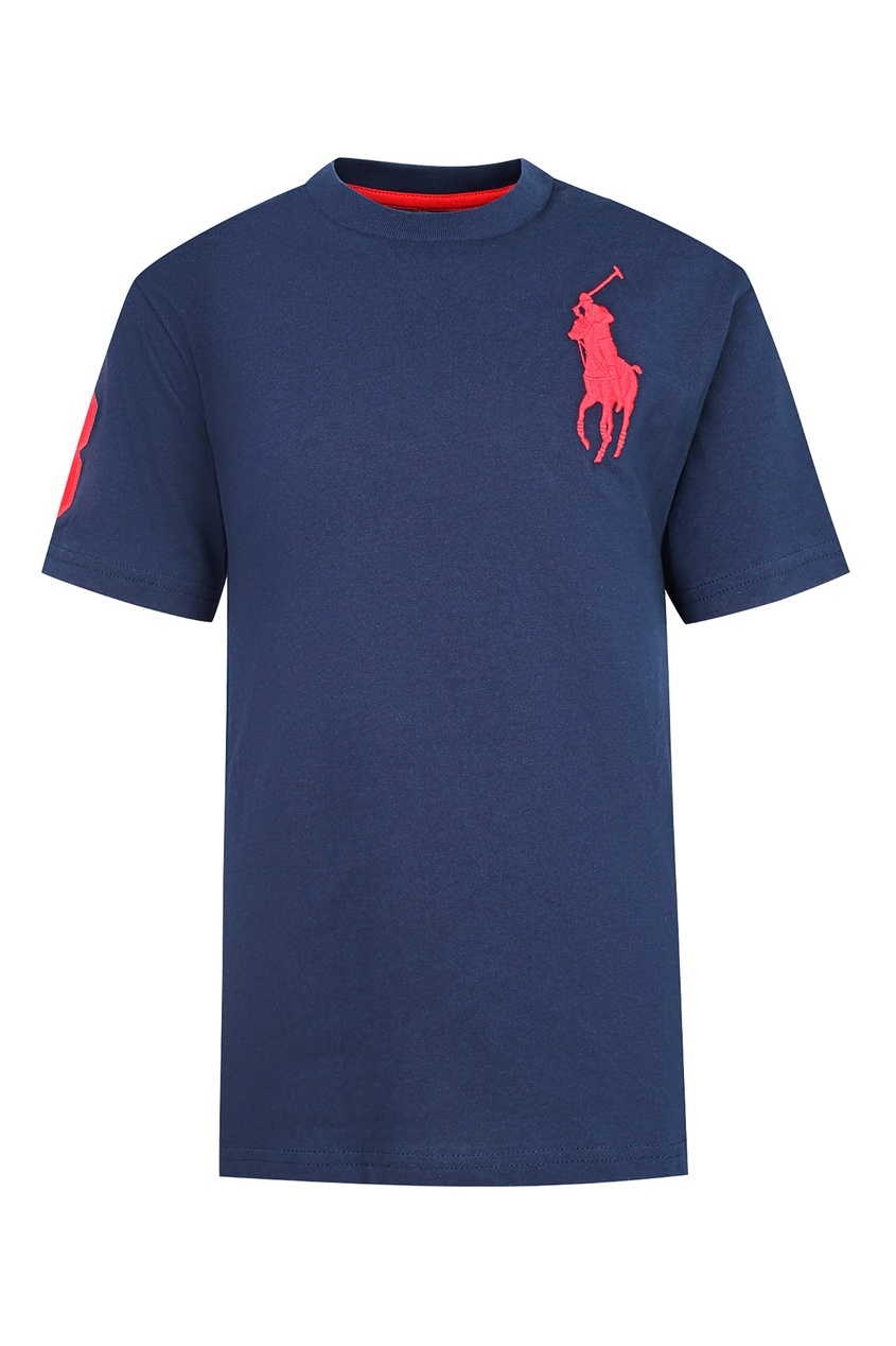 Купить Темно-синяя футболка с логотипом от Polo Ralph Lauren Kids синего цвета