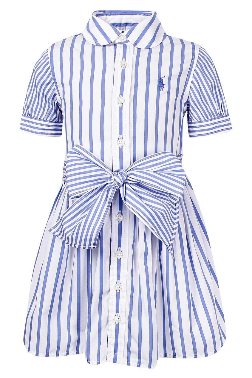Купить Платье в бело-голубую полоску от Polo Ralph Lauren Kids цвет multicolor
