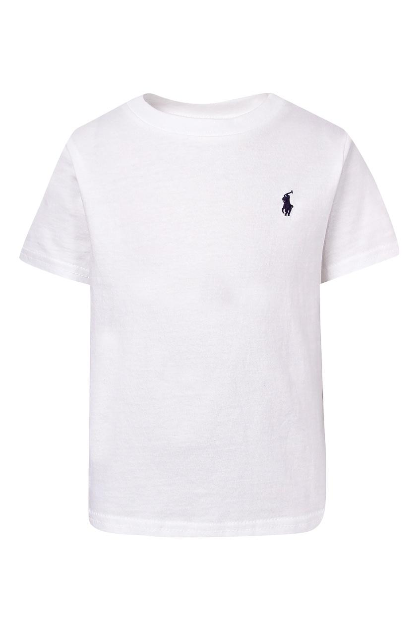 Купить Белая футболка с вышитым логотипом от Ralph Lauren Kids белого цвета