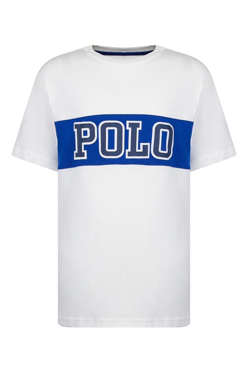 Белая футболка с надписью от Polo Ralph Lauren Kids