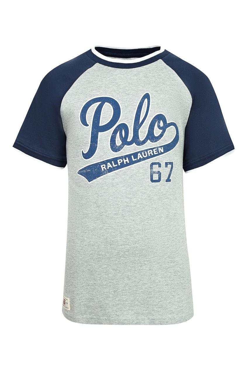 Купить Серая футболка с контрастными рукавами от Polo Ralph Lauren Kids серого цвета