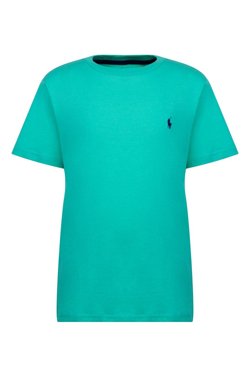 Купить Бирюзовая футболка с логотипом от Polo Ralph Lauren Kids зеленого цвета