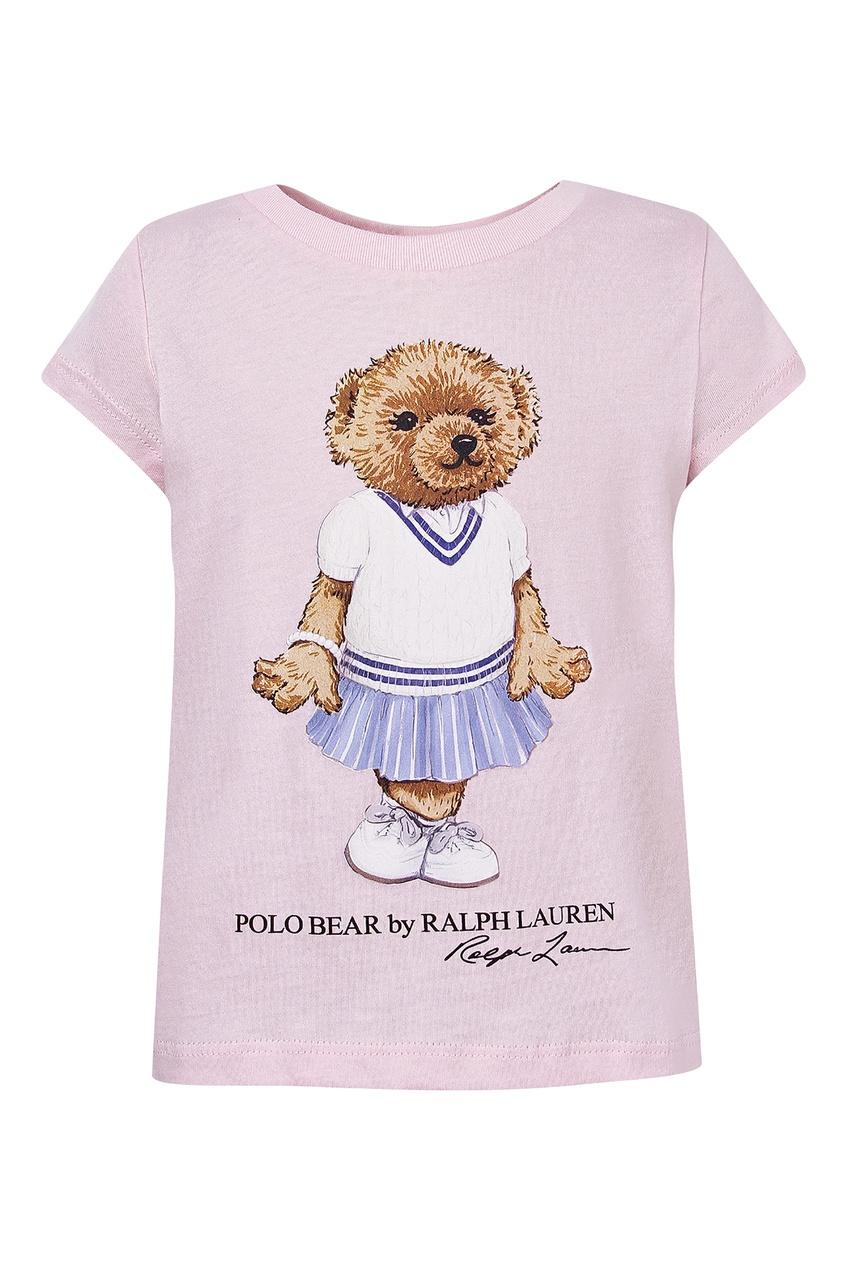 Розовая футболка с медведем от Polo Ralph Lauren Kids